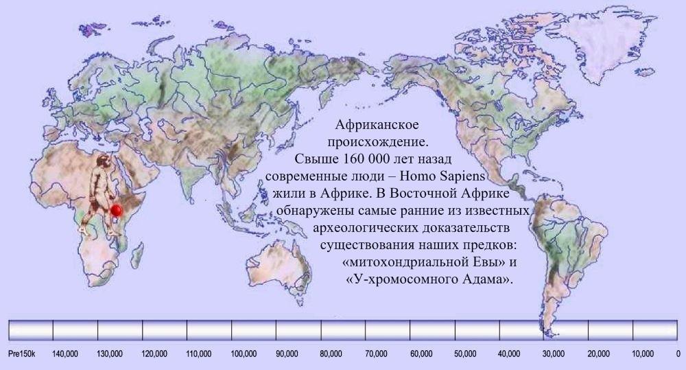 01 карта расселения человека по Земле 160 000 лет назад