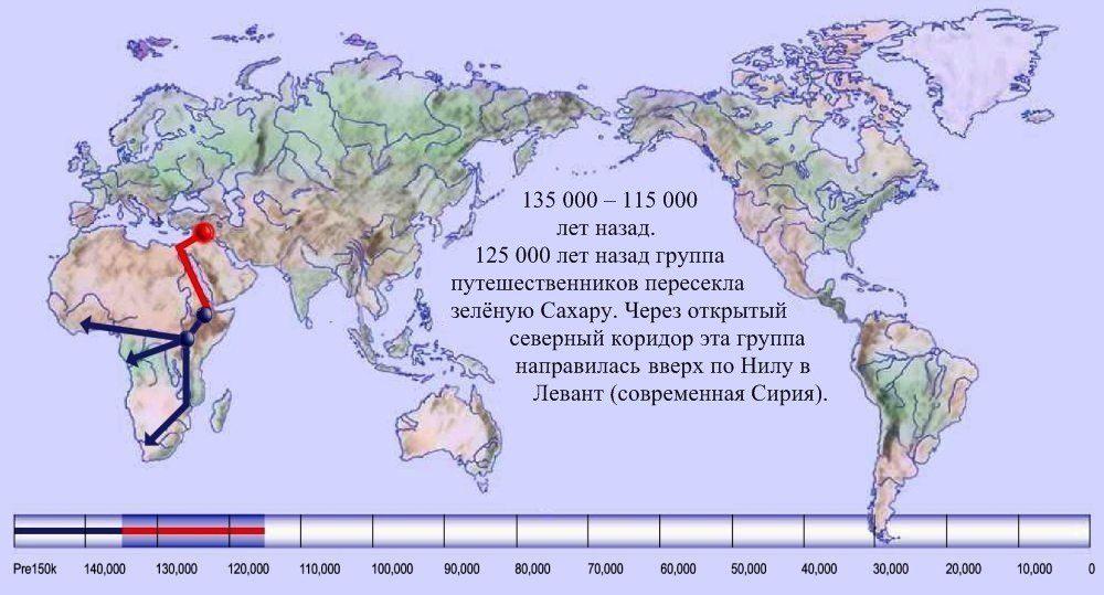 03 карта расселения человека по Земле 135 000 лет назад