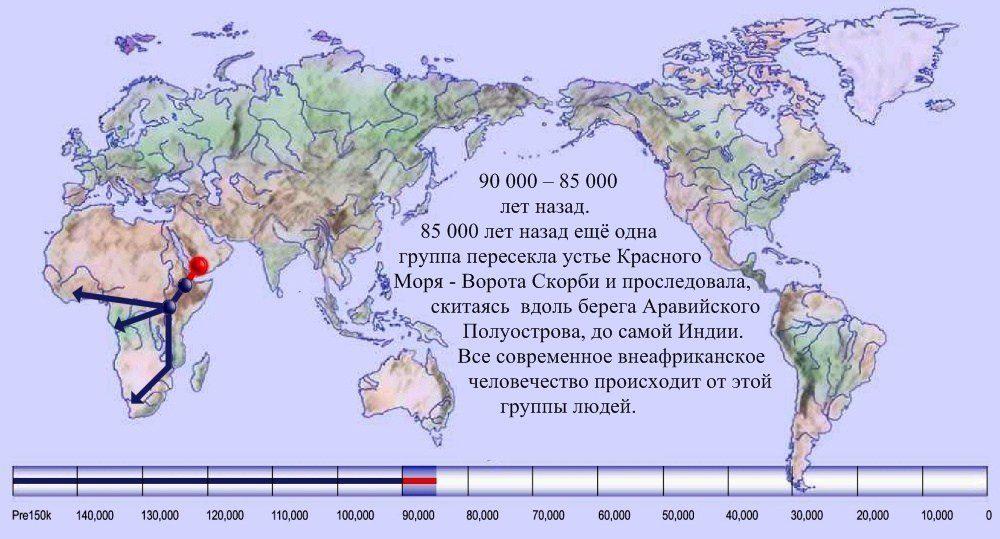 05 расселение человека по Земле 90 000 лет назад