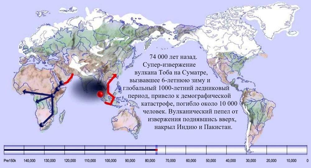 07 карта расселения человека по Земле 74 000 лет назад