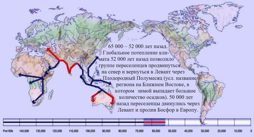 09 расселение человека по Земле 65 000 лет назад