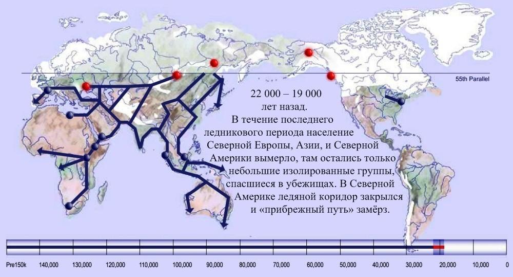 14 расселение человека по Земле 22 000 лет назад