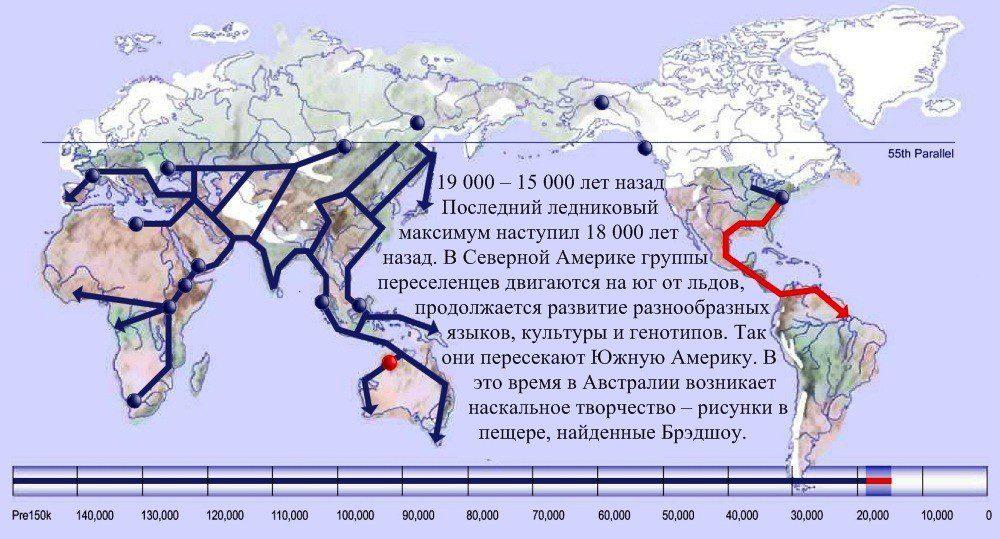 15 карта расселения человека 19 000 лет назад
