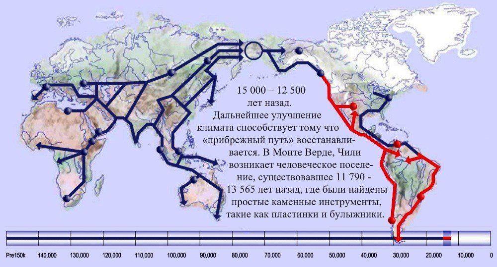 16 карта расселения человека 15 000 лет назад