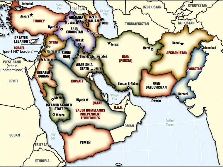 Карта Ближний Восток после передела