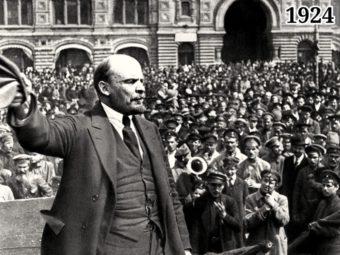 Ленин произносит речь перед войсками на Красной площади 25 мая 1918 года