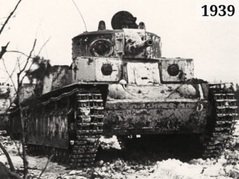 Фото Танки Т-28 выдвигаются на рубеж атаки, февраль 1940