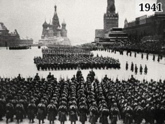 Фото военный парад на Красной площади 7 ноября 1941 года