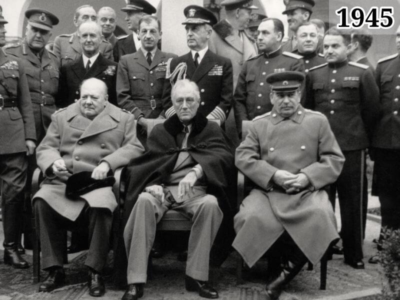 Фото лидеры союзных государств Черчилль, Рузвельт, Сталин. Ялта 1945 год