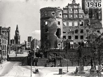 Фото Калининград. Вид на Кайзер-Вильгельм-платц и Королевский замок 1946 год