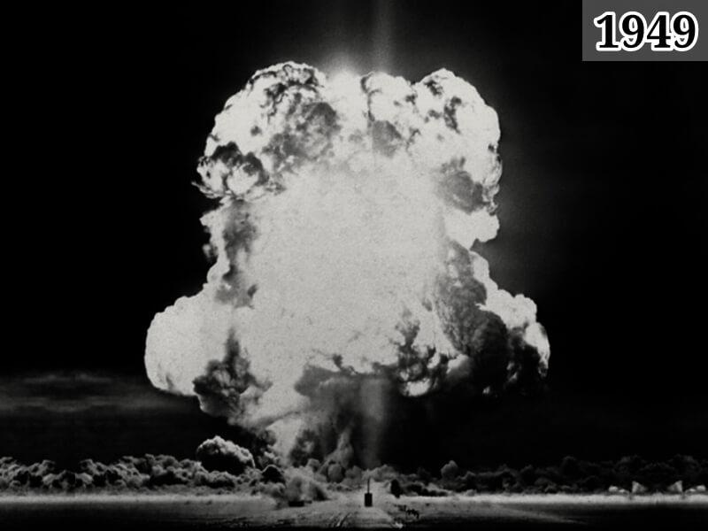 Фото взрыв первой атомной бомбы в СССР. Семипалатинский полигон 29 августа 1949 года