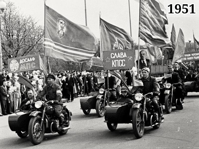 Фото Всесоюзные соревнования ДОСААФ по мотоспорту Подмосковье 1951 год