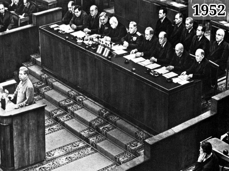 Фото Иосиф Сталин выступает на XIX съезде ВКПб 1952 год