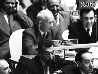Фото Хрущёв с ботинком на заседании 15-й Генассамблеи ООН 1960 год