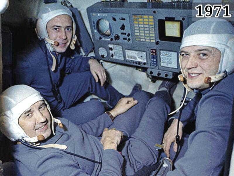 Фото экипаж корабля Союз-11 Пацаев, Добровольский, Волков 1971