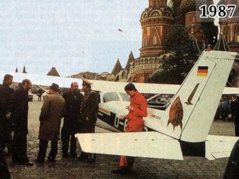 Фото Матиас Руст возле своего самолёта в Москве 1987 год