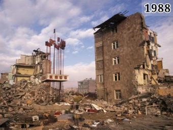 Фотография разрушений в Армянской ССР после землетрясения 1988 года
