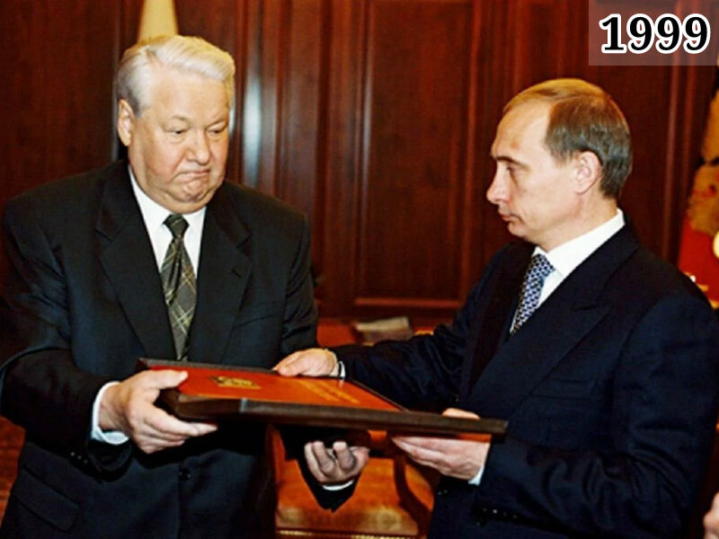Фото президент Б. Ельцин и председатель правительства В. Путин 1999 год
