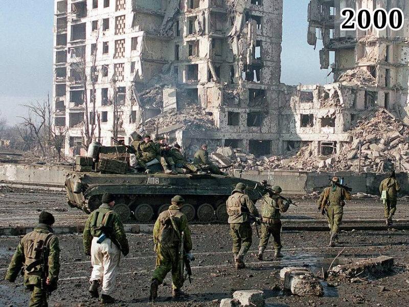 Фото военнослужащие федеральных сил. Грозный, 1999-2000 г.