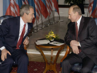 Фото Джорж Буш и Владимир Путин