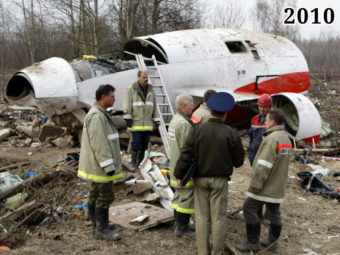 Фото обломки польского Ту-154, 2010 год