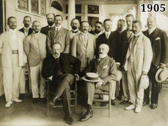 Фото российская делегация в Портсмуте. В центре С. Ю. Витте и Р. Р. Розен 1905 год