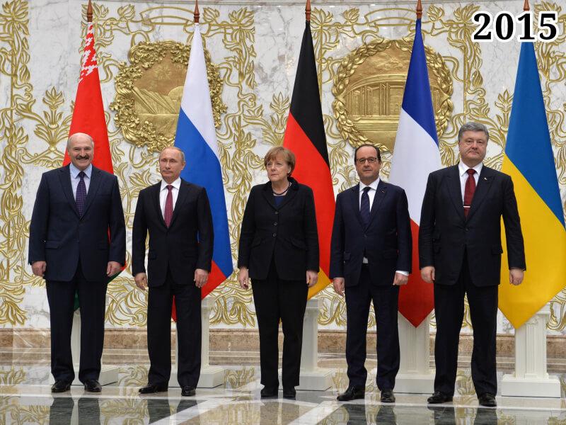 Александр Лукашенко, Владимир Путин, Ангела Меркель, Франсуа Олланд, Пётр Порошенко. 2015 год