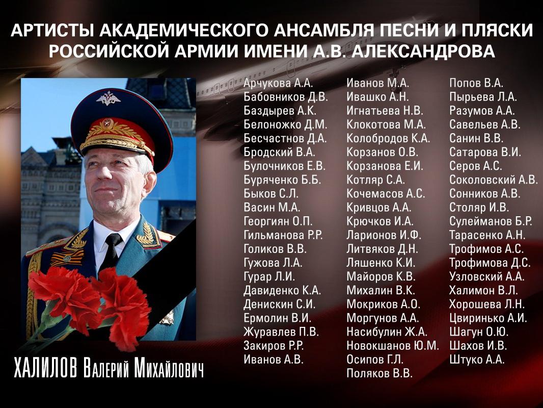 Список погибших участников ансамбля им. Александрова